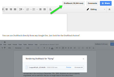 Draftback Chrome Extension
